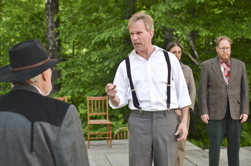 "Actors perform Sinclair Lewis' ""It Can't Happen Here."" In this scene, Vermont newspaper editor Doremus Jessup (Peter Mendes) confronts the president of the United States, Buzz Windrip (Daniel L. Patterson) through an editorial he reads aloud."