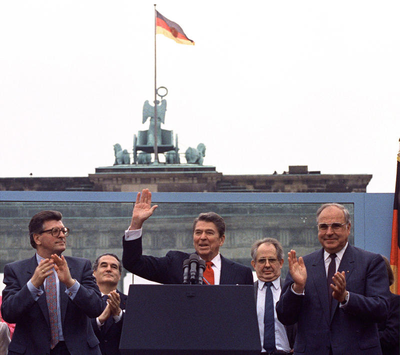 President Ronald Reagan called for the dismantling of the Berlin Wall before the Brandenburg Gate on June 12, 1987.
