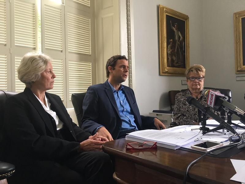 Sens. Jane Kitchel, Tim Ashe and Ann Cummings, from left, called on Gov. Phil Scott Thursday to develop a contingency plan in the event of a government shutdown.