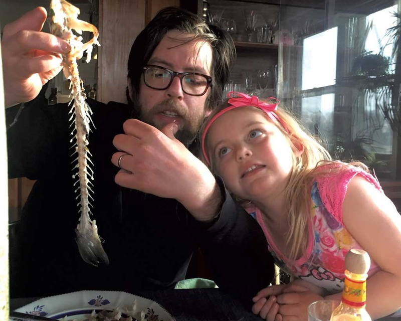 Chef Aaron Josinsky of Misery Loves Company (with daugher, Eda) suggests being flexible when cooking for kids but to keep offering good choices.
