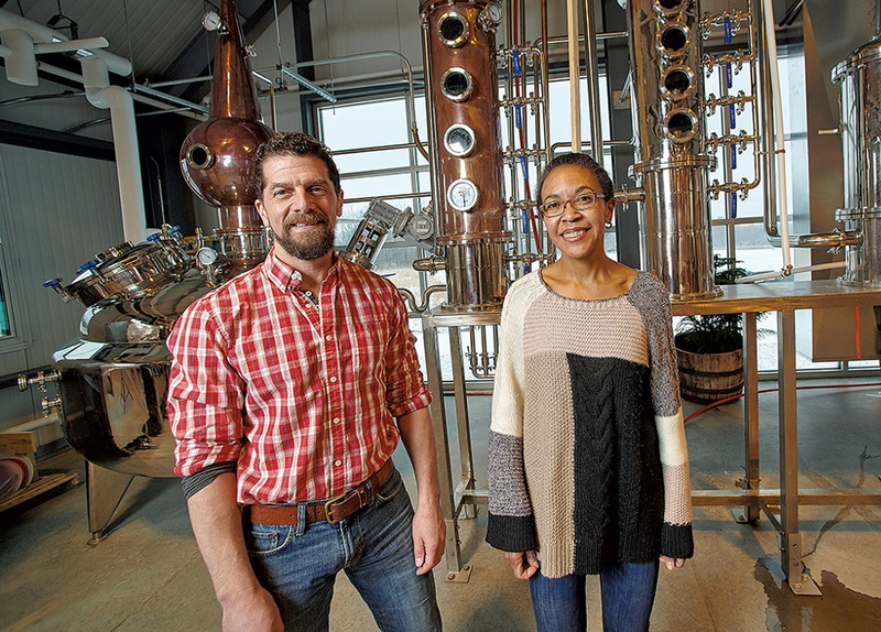 Professional colleagues and friends since college, Craig Stevens and Naomi Clemmons, now operate Wild Hart Distillery in Shelburne.