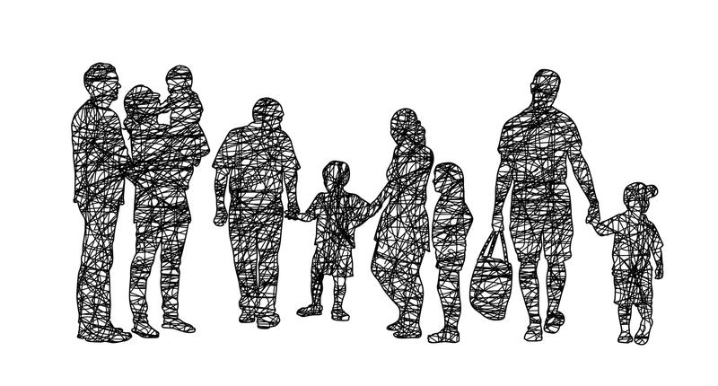 A black-and-white illustration of people of all ages standing in a line.