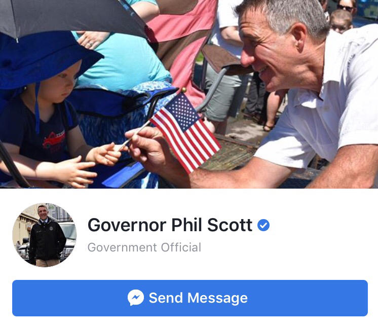 Gov. Phil Scott's Facebook profile, with a photo of him and a baby, and an option to send a message.