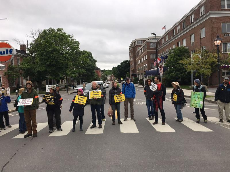 Members of the Vermont Poor People's Campaign block traffic in downtown Montpelier on Monday, June 4. The group says it's using non-violent protest to call attention to poverty, systemic racism and ecological destruction.