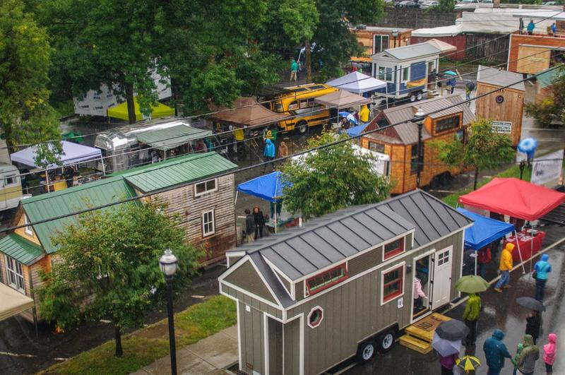 An aerial shot of a pop-up tiny house village