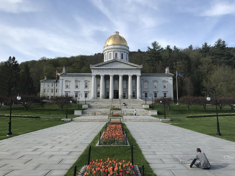 The statehouse in spring.