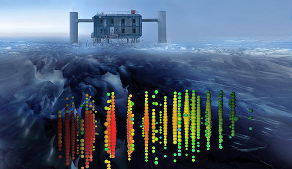 The Icecube Neutrino Observatory at the South Pole sits atop an array of detectors buried deep within the clear antarctic ice.