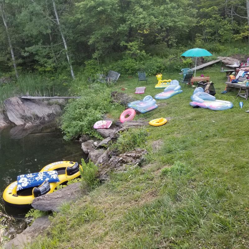 An assortment of pond-side floats await the next dip.