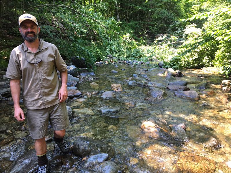 Shayne Jaquith oversees the stream restoration project on the Burnt Mountain tract.