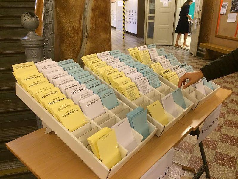 Ballots for Swedish national election await voters at Södra Latin School in Stockholm, Sweden.
