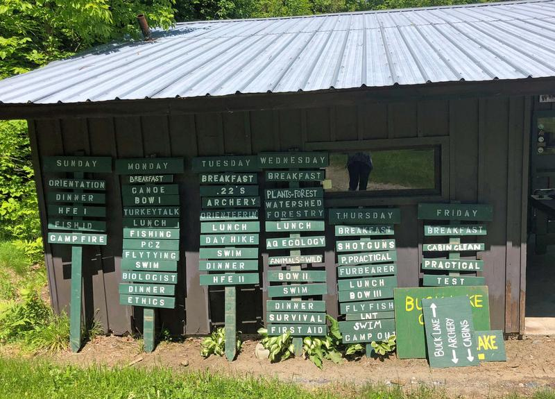 These signs spell out a week's worth of activities at the Green Mountain Conservation Camp.