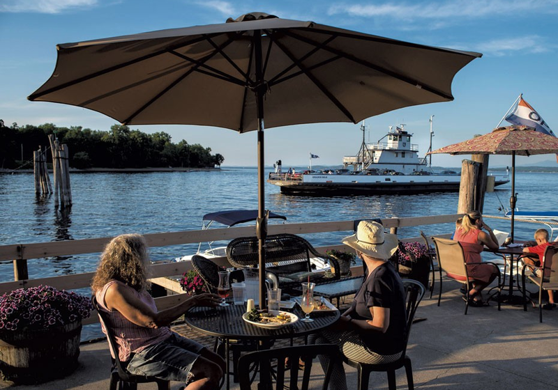 The Old Dock Restaurant & Marina in Essex, NY, offers a full menu and stunning views.