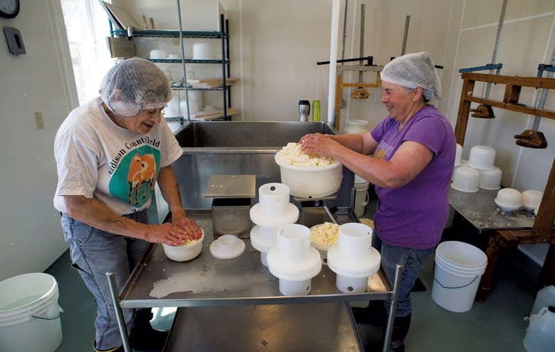 After 35 years, cheese makers Marian Pollack (left) and Marjorie Susman, will be stepping back from the business on their historic Orb Weaver Farm in Monkton.