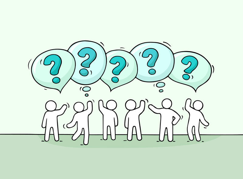 An illustration of people with speech bubbles featuring question marks above them.