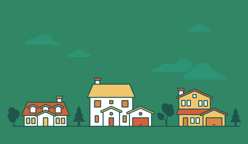 An illustration of a row of houses with a green background.