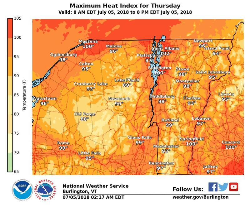 A map of the maximum heat index for Thursday, July 5.