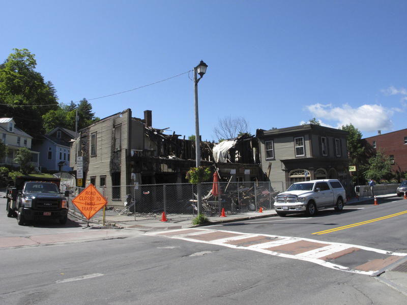 The aftermath of a fire at the Vermont Standard office.