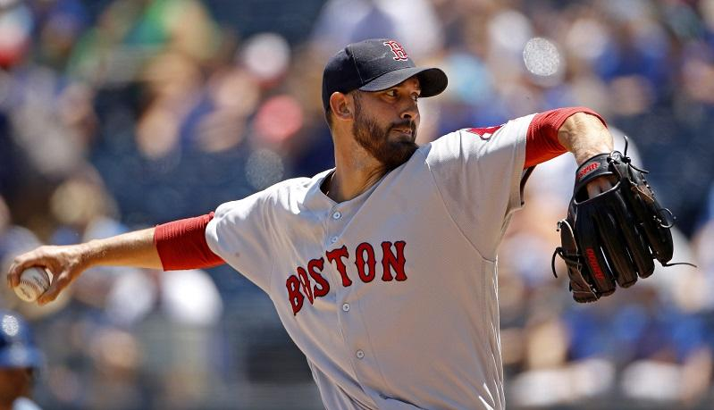 Boston Red Sox starting pitcher Rick Porcello throws during the first inning of a game against the Kansas City Royals on Sunday, July 8, 2018.