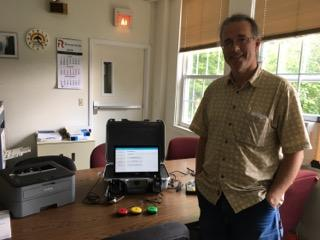 Dover Town Clerk Andy McLean has the Accessible Voting System ready to go.
