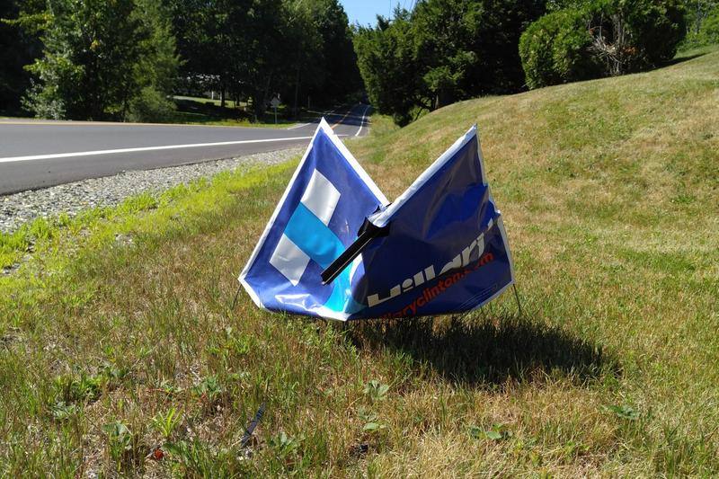 Vehement political disagreement is visible in this damaged campaign sign.