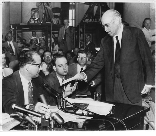 Senator Ralph Flanders confronts Senator Joseph McCarthy and his aide Roy Cohn in a vintage photograph from the Associated Press.