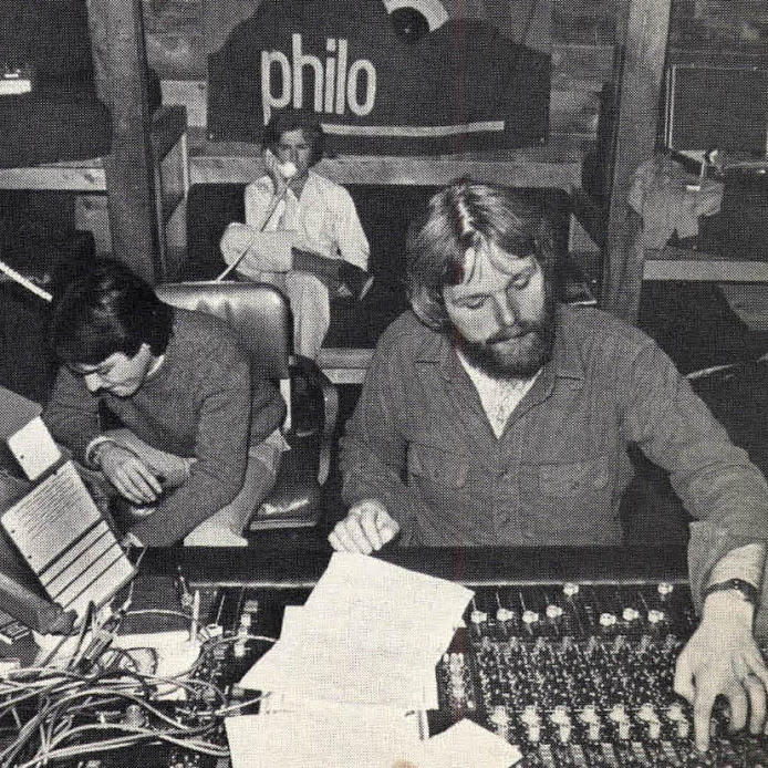 Left to right, Paul Asbell, Chas Eller and Mike Couture combine their talents in a Philo studio session.