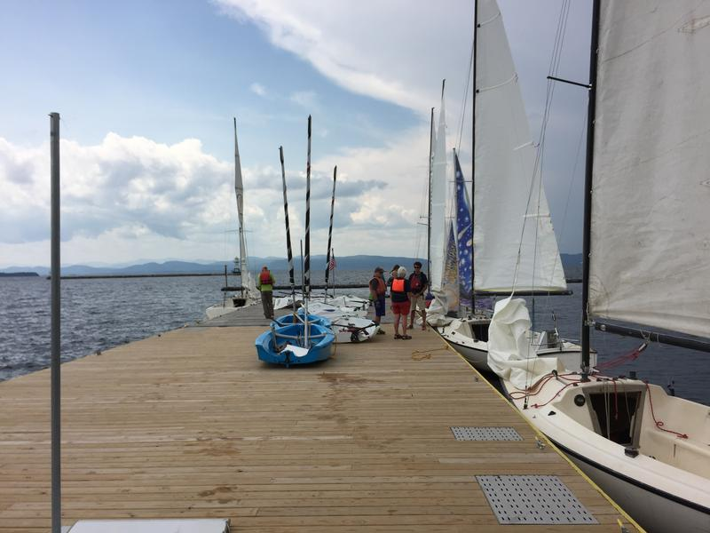 Sailboats at the dock at the Lake Champlain Community Sailing Center.