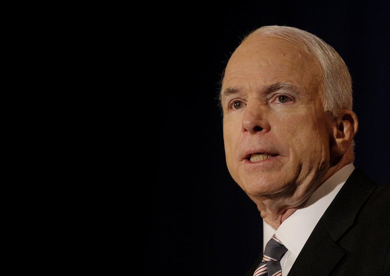 As Republican presidential candidate in 2008, Sen. John McCain spoke in Wisconsin about the economy.