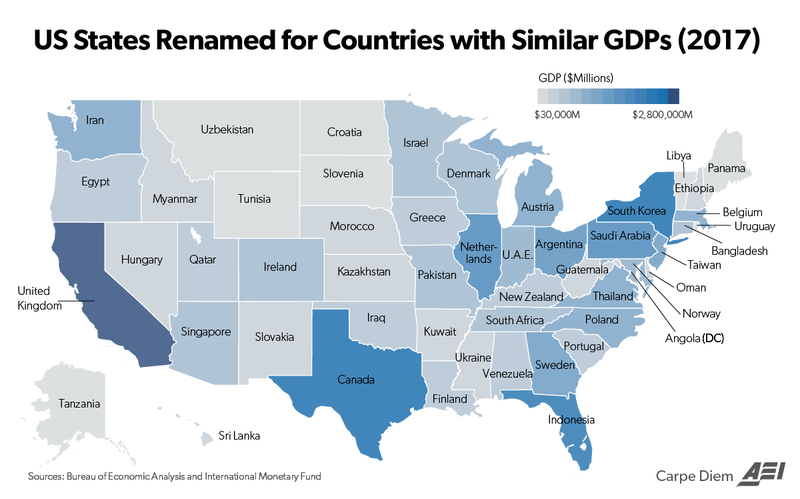 This map matches the economic output for each US state and the District of Columbia in 2017 to a foreign country with a comparable nominal GDP.
