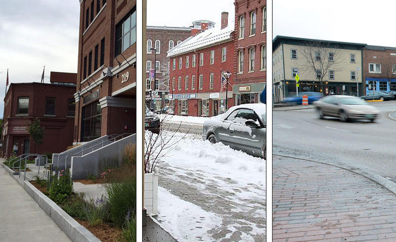 A three-panel picture with downtown scenes from Barre City, Montpelier in winter, and the roundabout in Winooski.