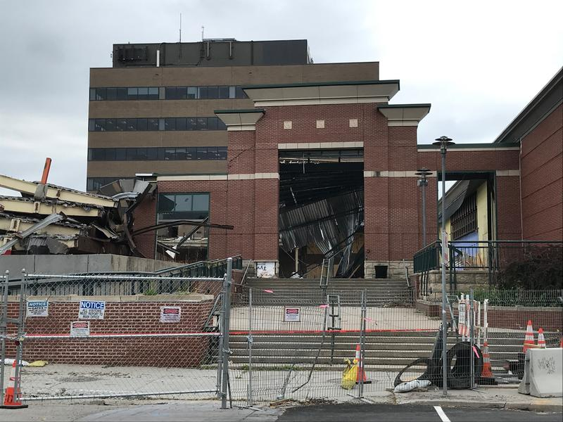 Demolition on a downtown Burlington mall, seen here in June, began earlier this year. Construction on a redevelopment at the site has been paused for several weeks.