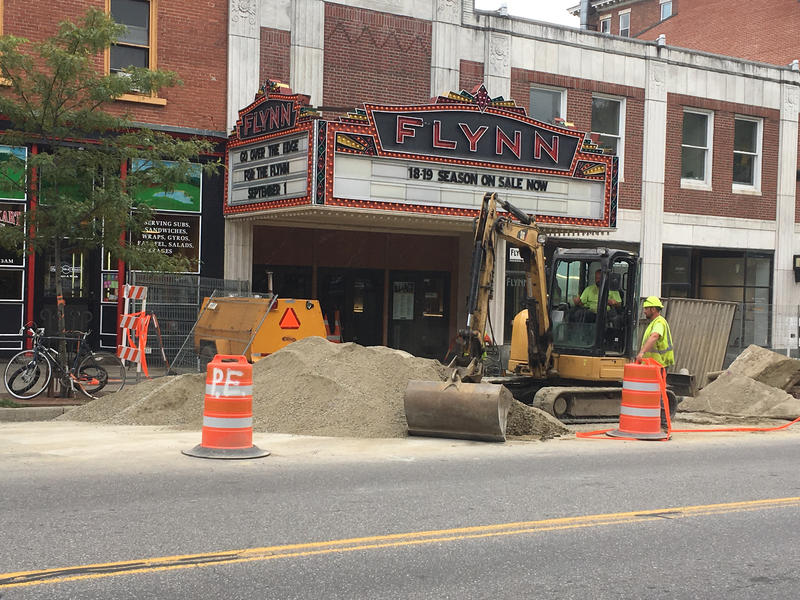 Construction happening outside the Flynn Center for the Performing Arts on Main Street in Burlington.