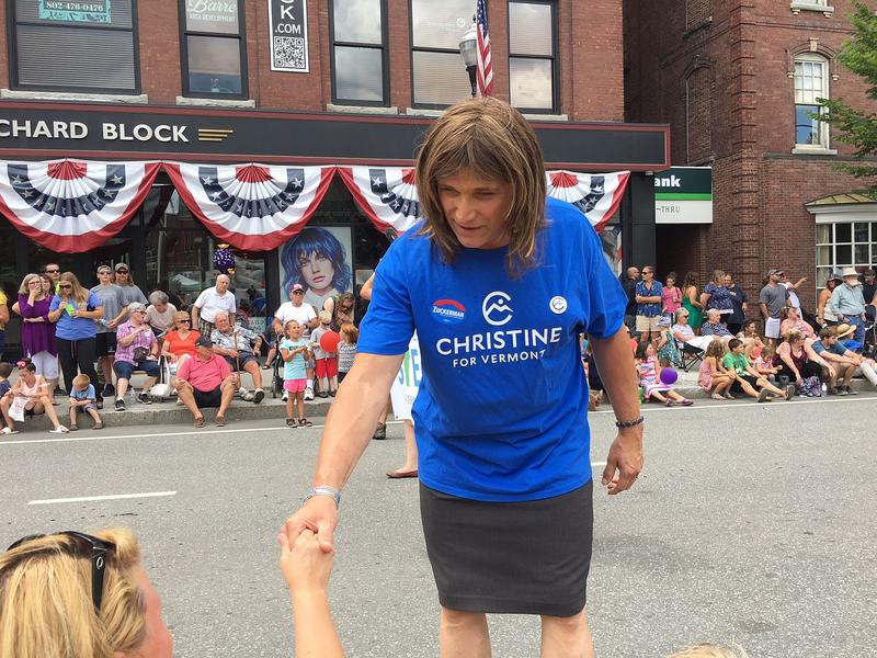 Democratic candidate for governor Christine Hallquist introduces herself to a prospective voter in Barre last month.