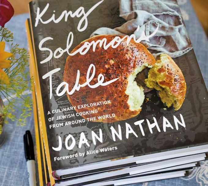 Copies of Joan Nathan's new cookbook on display during one of her recent stops in Burlington.