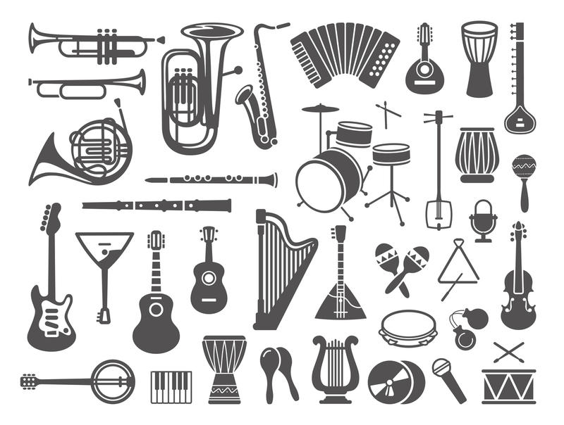 Many different musical instruments