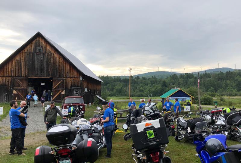 Outside a barn in Lowell are a bunch of motorcycles as part of Road Pitch.
