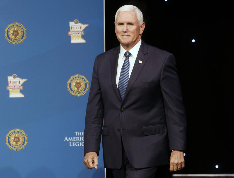 Vice President Mike Pence standing at the American Legion 100th National Convention in Minneapolis.