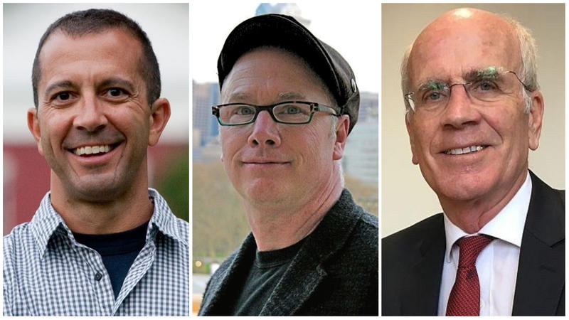 Challengers Dan Freilich, left, and Ben Mitchell, center, will debate incumbent Rep. Peter Welch in the Democratic primary for Vermont's sole seat in the U.S. House.