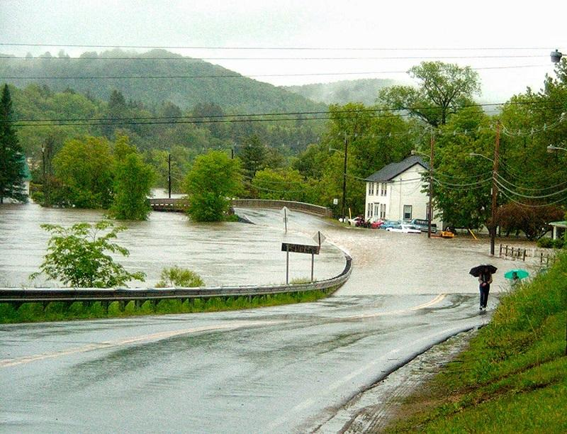 The Passumpsic River overflowed its banks in 2002, washing out roads and flooding homes in and around Lyndonville in 2002.
