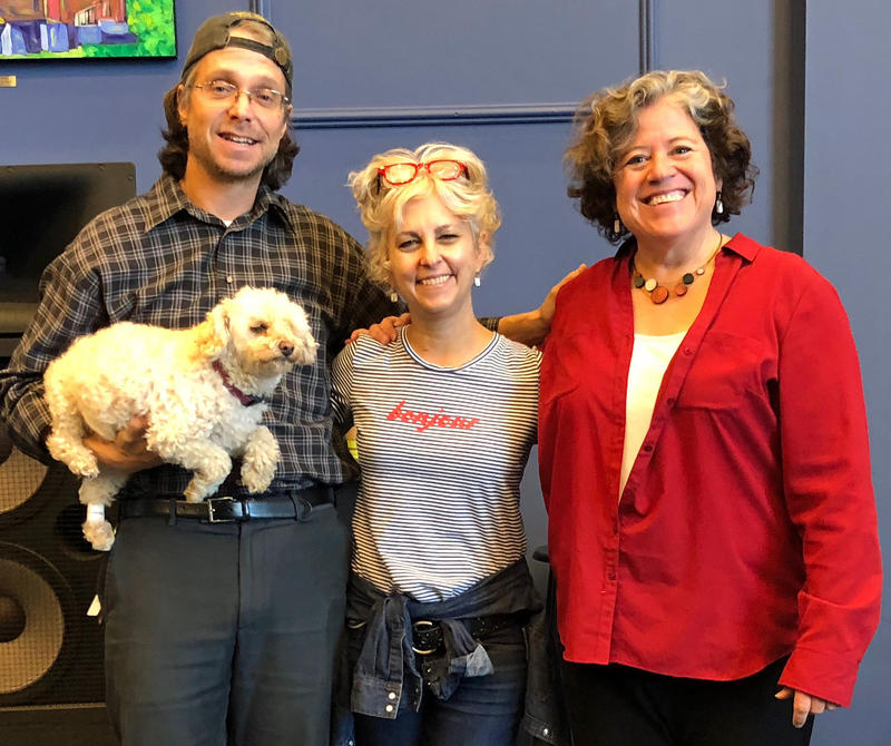 Illustrator Harry Bliss, his dog Penny, author Kate DiCamillo and The Flying Pig Bookstore owner Elizabeth Bluemle pose at The Film House, in Burlington. All three (humans) happen to be creators of picture books about dogs, published by Candlewick Press.