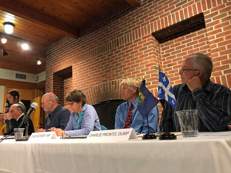 Monday evening, a citizen group called Don't Undermine Memphremagog's Purity (DUMP) held a panel discussion about a proposed expansion of the Coventry landfill. The panelists sit along a table in front of a brick wall while one speaks.