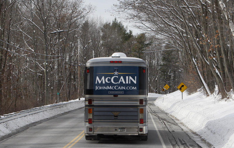 John McCain's famous Straight Talk Express took his campaign down the snowy roads of New Hampshire.