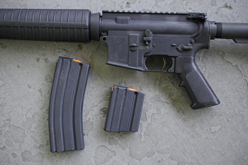 An AR-15 rifle pictured with a 30-round magazine and a 10-round magazine. Vermont law now prohibits the sale and purchase of magazines with more than 10 rounds. The high-capacity magazine ban is the focus of one of two lawsuits in Vermont courts.
