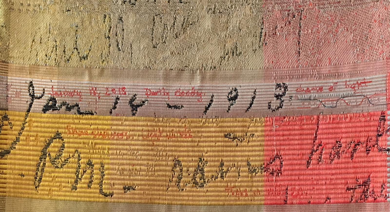 """Randolph artist Bhakti Ziek wove """"1913"""" from a pencil notation about the weather on the wall of the Kent Museum's general store."""
