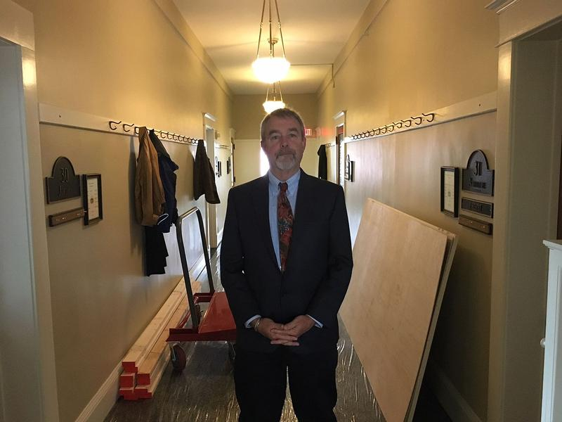 Commissioner of Buildings and General Services Chris Cole stands in a wing of the Statehouse that's been overtaken by mold. Cole says it'll cost an estimated $500,000 to clean up the committee rooms before lawmakers return in January.