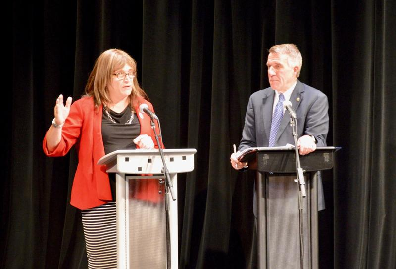 Democratic challenger Christine Hallquist and Republican incumbent Gov. Phil Scott argued over how best to lead Vermont Wednesday at Rutland's Paramount Theatre on stage.