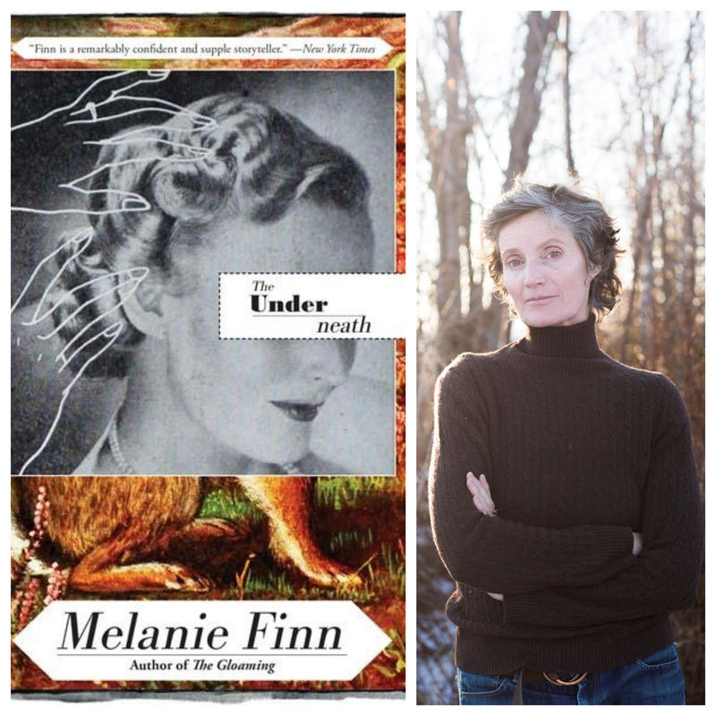 "The cover of Melanie Finn's novel ""The Underneath"" next to a photo of her in the woods."