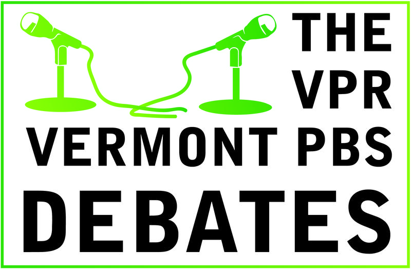 The VPR Vermont PBS Debates logo, with the text and a green border and two green microphones.