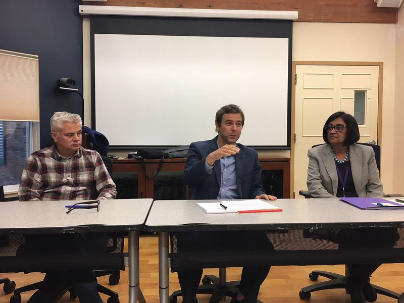 From left, Sen. Richard Westman, Sen. Tim Ashe and Savi Van Sluytman, executive director of Lamoille County Mental Health Services, at a meeting in Morrisville Monday. Employees at the agency say they don't have enough funding to meet demand.