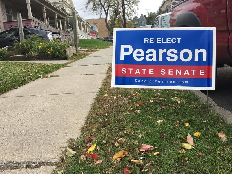 A sign for Progressive/Democrat Chris Pearson. Pearson is one of six incumbent state senators in Chittenden County running for re-election.